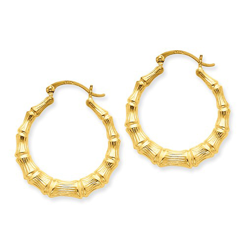 14kt Yellow Gold 3/4in Bamboo Hoop Earrings