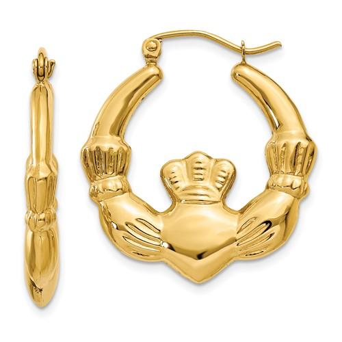 14kt Yellow Gold 1in Claddagh Hoop Earrings