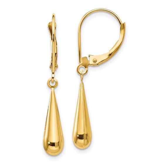 14kt Yellow Gold 1 1/4in Madi K Tear Drop Earrings