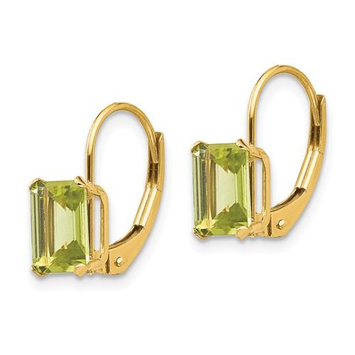14kt Yellow Gold 2.2 ct Emerald-cut Peridot Leverback Earrings