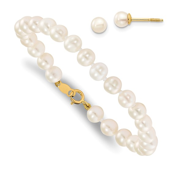 14kt Yellow Gold Madi K Baby Cultured Pearl Set - 5.5in Bracelet and Screwback Earrings