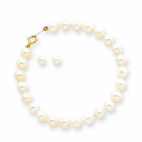 14kt Yellow Gold Girls' Cultured Pearl Bracelet and Screwback Earrings