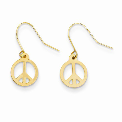 14kt Yellow Gold 5/8in Peace Sign Dangle Earrings