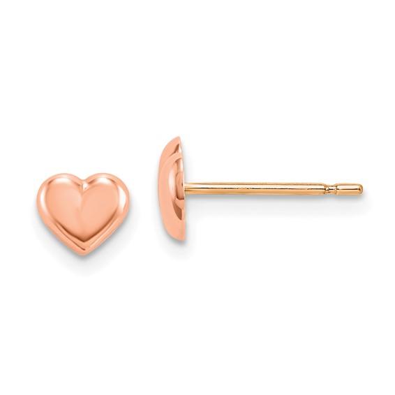 14kt Rose Gold Madi K Heart Post Earrings