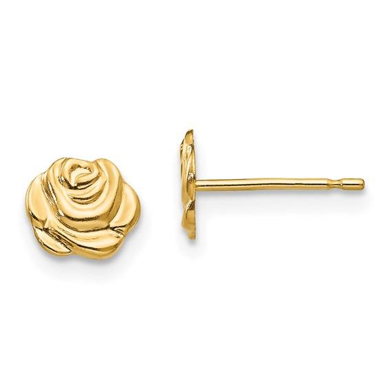 14kt Yellow Gold 1/4in Rosebud Flower Post Earrings