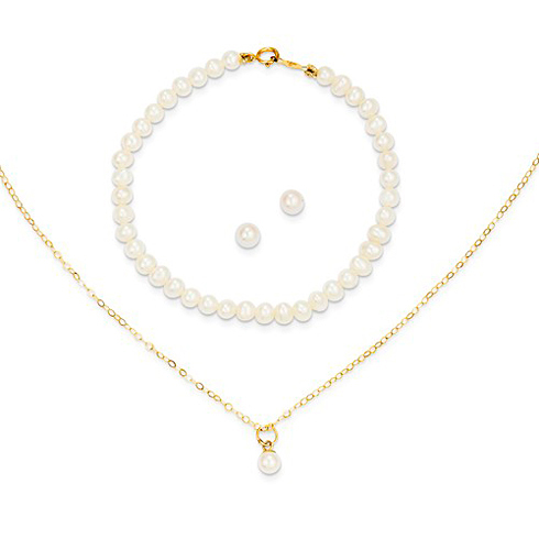 14kt Yellow Gold Madi K Pearl 15in Necklace Earrings and 5.5in Bracelet Set