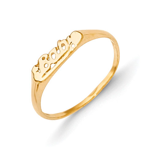 14k Yellow Gold Madi K Baby Script Ring