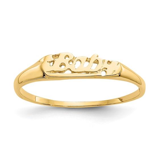14k Yellow Gold Madi K Baby Script Ring
