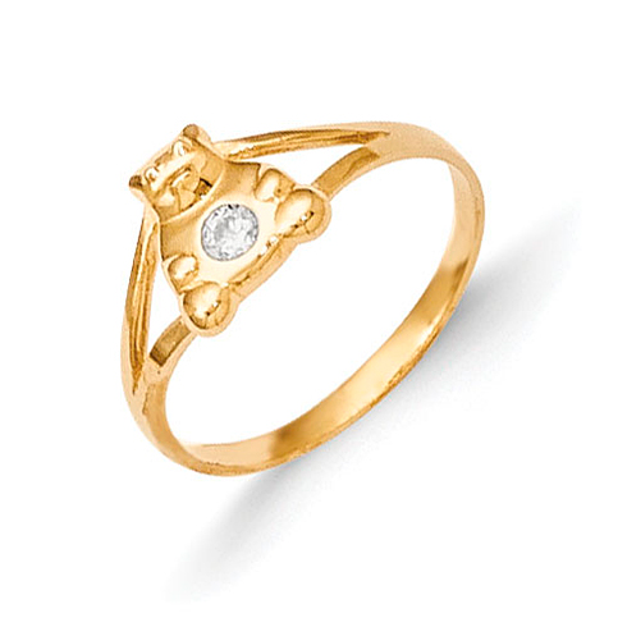 14kt Yellow Gold Madi K CZ Teddy Bear Baby Ring