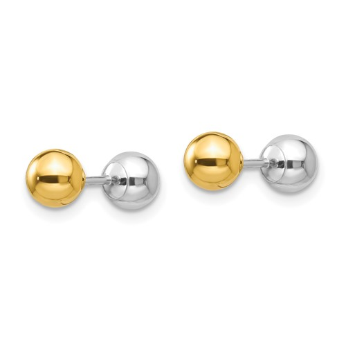 14k Two-tone Gold Madi K Reversible 5mm Ball Earrings