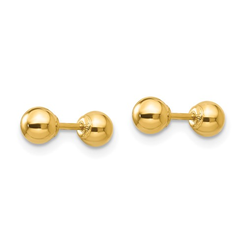 14kt Yellow Gold Madi K Reversible 4mm Ball Earrings