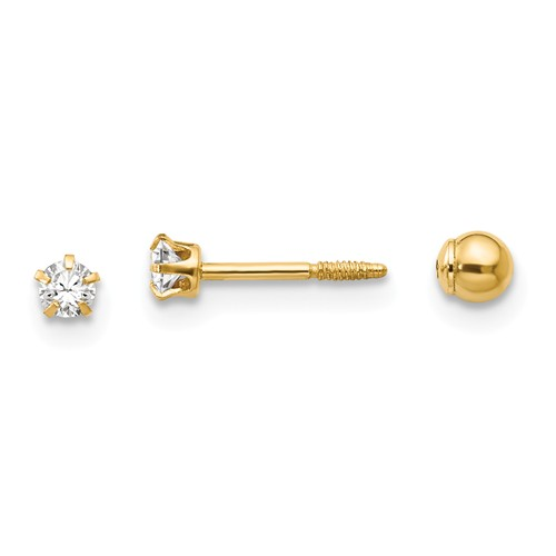 14kt Yellow Gold Kid's Reversible CZ and 3mm Ball Earrings