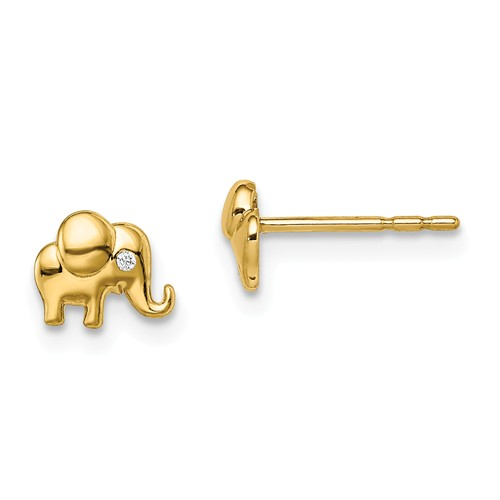 14k Yellow Gold Madi K CZ Accent Elephant Earrings
