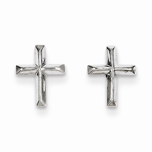 14kt White Gold Mini Beveled Cross Earrings