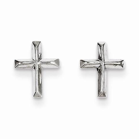 14kt White Gold Mini Beveled Cross Earrings