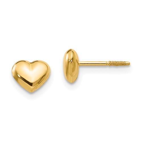 Kid's 14kt Yellow Gold Madi K Puffed Heart Screwback Earrings