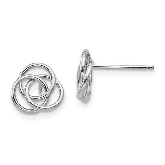 14kt White Gold Madi K Round Love Knot Earrings