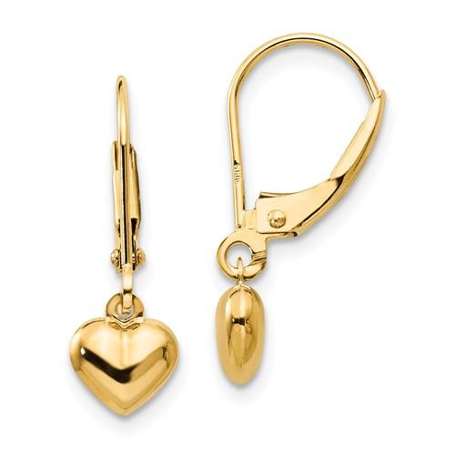 14k Yellow Gold Heart Leverback Earrings