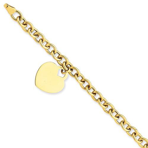 14kt Yellow Gold 7 1/4in Heart Charm Bracelet 5mm