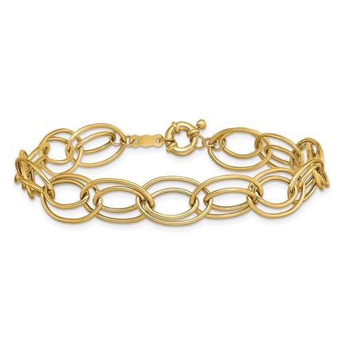 14kt Yellow Gold 7 1/2in Fancy Double Oval Link Bracelet