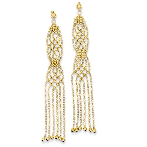 14k Yellow Gold Multi Beaded Tassel Dangle Earrings 2 3/4in