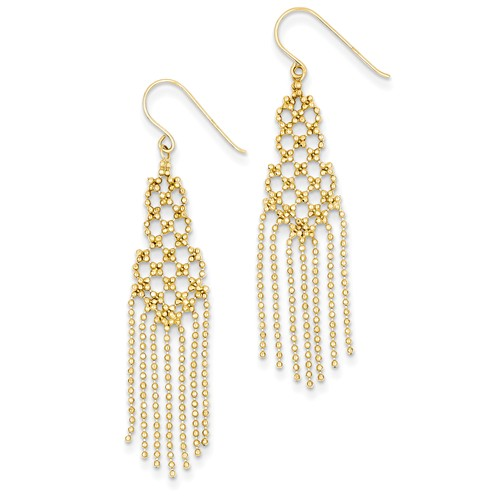 14kt Yellow Gold 2in Beaded Tassel Drop Earrings