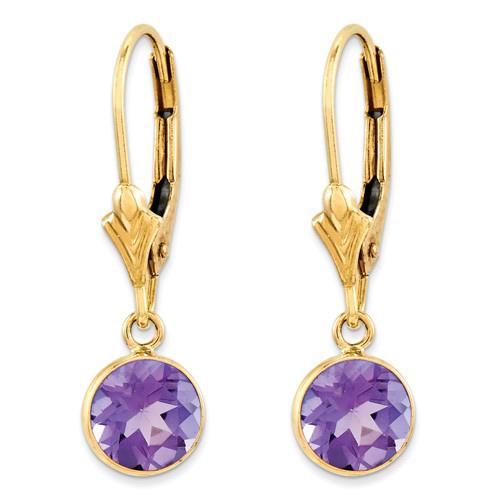 14kt Yellow Gold 4/5 ct tw Amethyst Bezel Leverback Earrings