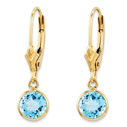 14kt Yellow Gold 1.1 ct tw Blue Topaz Bezel Leverback Earrings