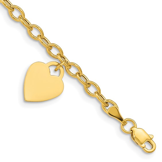 14kt Yellow Gold 8 1/2in Bracelet with Engravable Dangle Heart