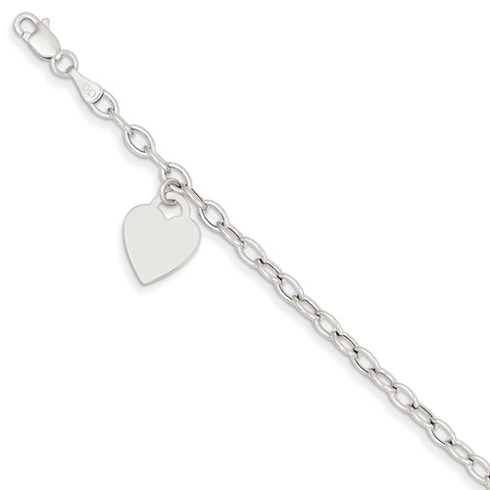 14kt White Gold 8 1/2in Bracelet with Engravable Dangle Heart