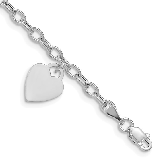 14kt White Gold 7 1/2in Bracelet with Engravable Dangle Heart