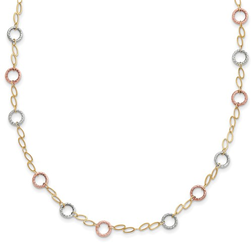 14kt Tri-tone Gold 18in Oval and Round Textured Link Necklace