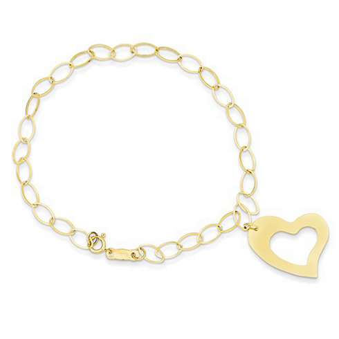 14kt Yellow Gold 7 1/4in Open Heart Charm Bracelet with Oval Links