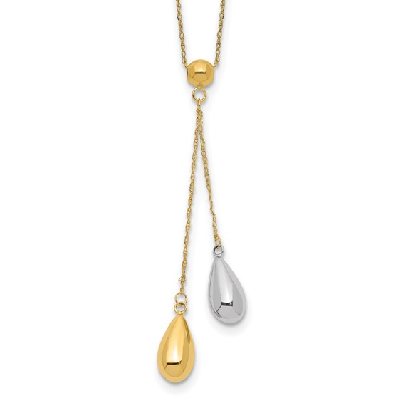 14kt Two-tone Gold Teardrop Puff Lariat 18in Necklace