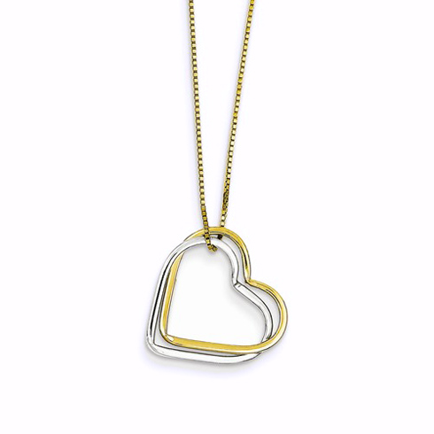 14kt Two-tone Gold 5/8in Double Heart Necklace