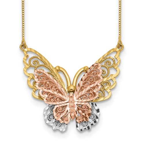 14k Tri-color Gold Butterfly Necklace 18in