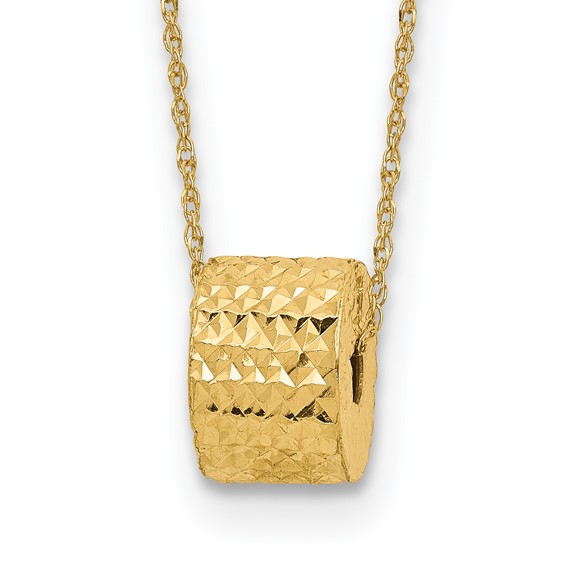 14kt Yellow Gold Diamond-cut Barrel Bead on 16in Necklace