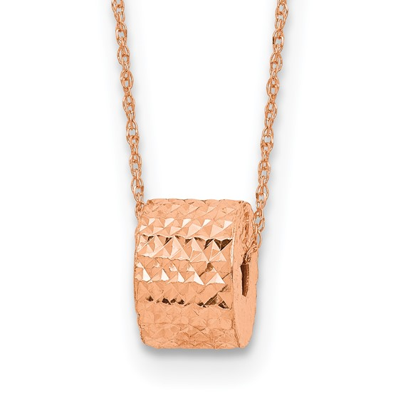 14kt Rose Gold Diamond-cut Barrel Bead on 16in Necklace