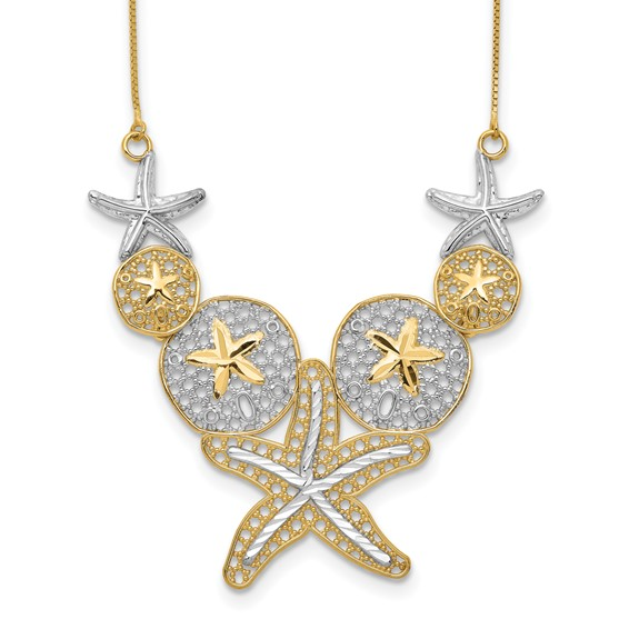 14kt Yellow Gold & Rhodium Starfish and Sand Dollar 18in Necklace