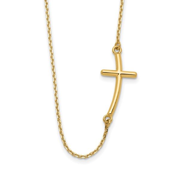 14kt Yellow Gold 1in Offset Sideways Cross 19in Necklace