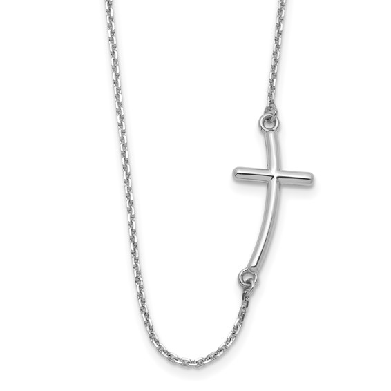 14kt White Gold 1in Offset Sideways Cross 19in Necklace