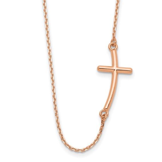 14kt Rose Gold 1in Offset Sideways Cross 19in Necklace
