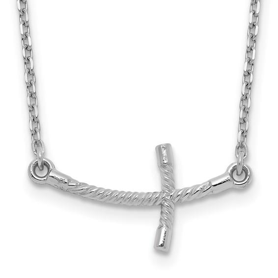 14kt White Gold 7/8in Curved Twist Sideways Cross 19in Necklace