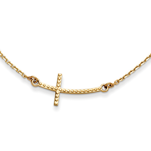 14kt Yellow Gold 1in Curved Beaded Sideways Cross 19in Necklace