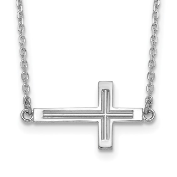 14kt White Gold 3/4in Cut-Out Sideways Cross 19in Necklace