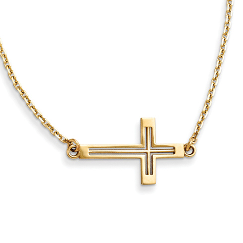 14kt Yellow Gold 3/4in Cut-Out Sideways Cross 19in Necklace
