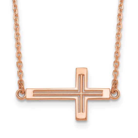 14kt Rose Gold 3/4in Cut-Out Sideways Cross 19in Necklace