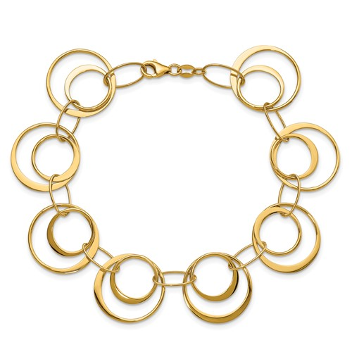 14kt Yellow Gold 7 1/2in Italian Polished Inset Circles Bracelet