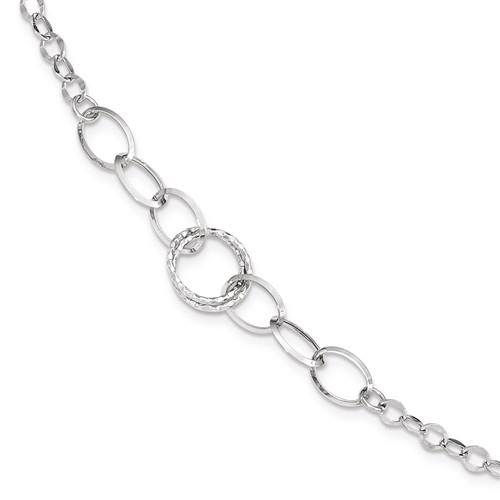 14kt White Gold 8in Italian Oval Link Bracelet with  Hoop Accent