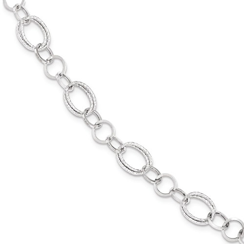 14kt White Gold 7 1/2in Italian Fancy Oval and Round Link Bracelet